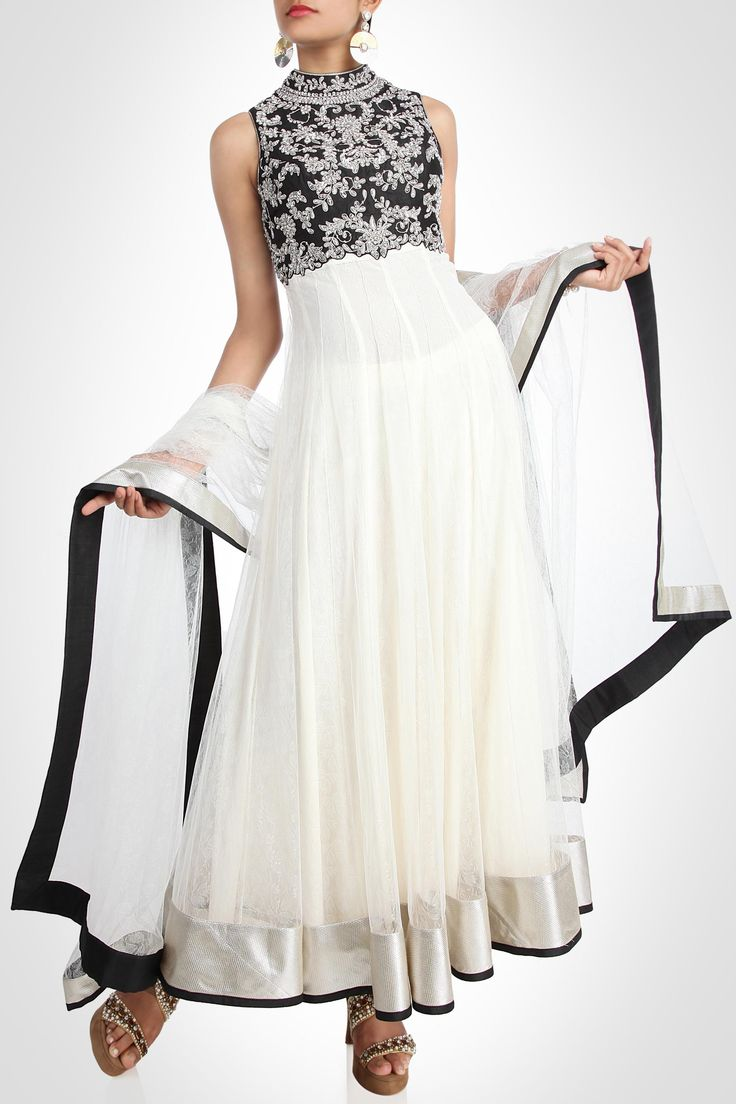 Seema Gujral collection | Anarkali - White Net Anarkali With Black Bodice
