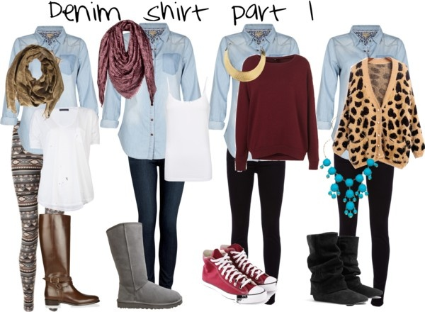 Denim shirt outfits #1