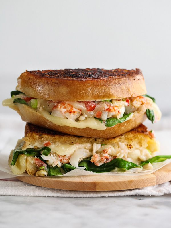 Lobster Grilled Cheese Sandwich with melty Wisconsin provolone and mascarpone cheeses