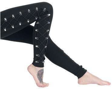 Endast hos oss: svarta leggings från Gothicana, med snörning i sidorna och öljetter av metall - riktigt snyggt!