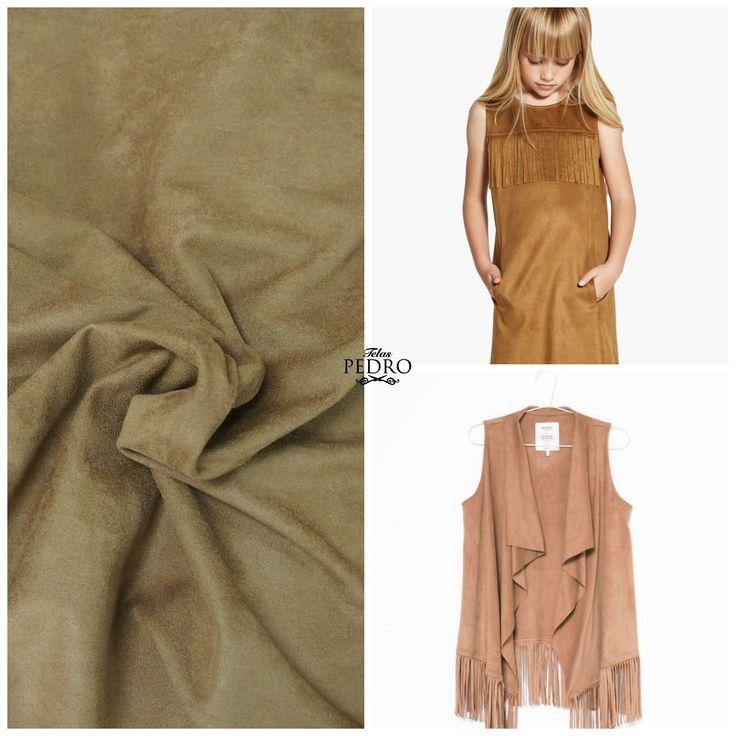 Ideas para confeccionar con antelina, vestido recto,chaleco con flecos, moda boho,