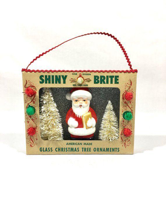 Christmas Shadow Box Vintage Shiny Brite Glass Santa Claus Etsy Christmas Shadow Boxes Shadow Box Vintage Christmas