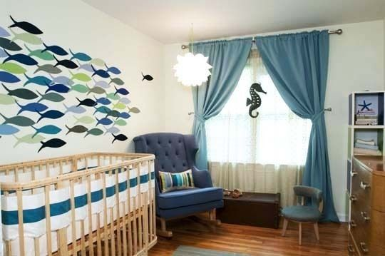 Waaaay beyond the nursery planning years, buy isn't this soooooo cute. Easy, graphic way to deliver a lot of style. And, no worries about something falling on babie's head!