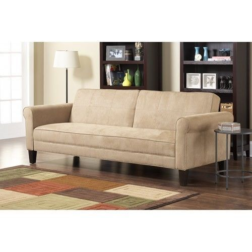 Beige 3 Seat Sofa Lounge Sleeper Bed Guest Living Room Office Couch Furniture