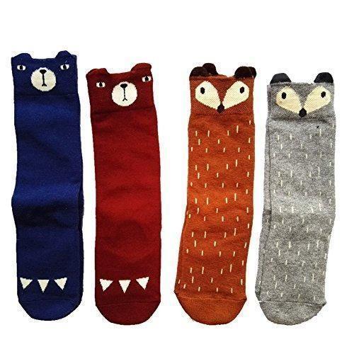 Oferta: 15€. Comprar Ofertas de (Pack de 4 pares) Calcetines Zapatos Antideslizantes para bebés niños niñas algodón rodilla calcetines altos 1-4 años (S 1-2 barato. ¡Mira las ofertas!