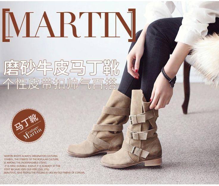 Англия Весна матовой кожи сапоги кожаные сапоги пряжки сапоги теленка Martin рукав ретро мотоциклов сапоги - глобальная станция Taobao