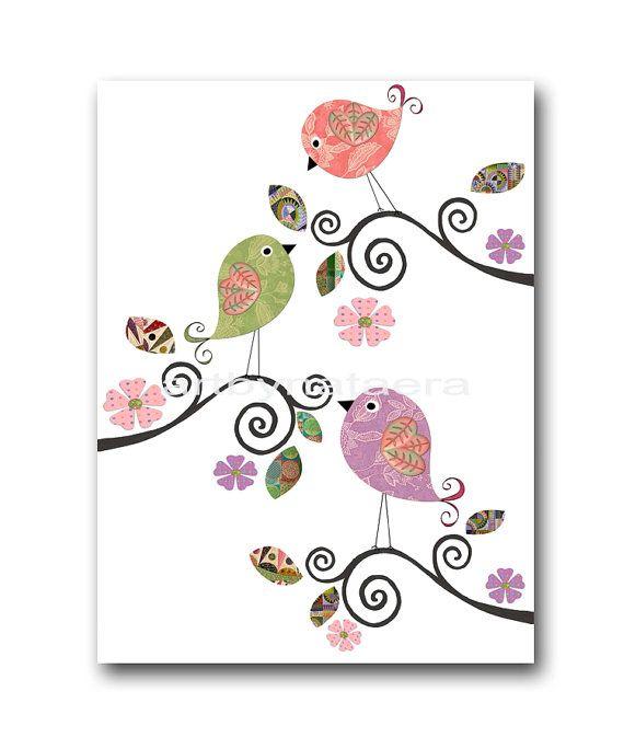 Color de rosa de bebé vivero Decor arte para niños por artbynataera