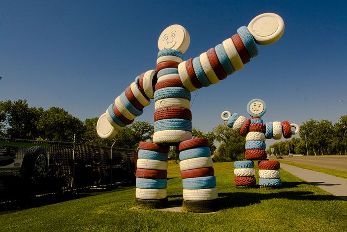 (SOUTH DAKOTA) Men made from tires, a roadside attraction in Rapid City.