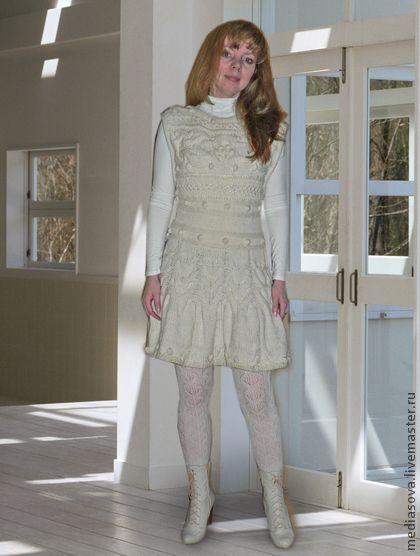 """Сарафан """"Прованс"""" - однотонный,белый,платье,сарафан,аранские узоры,ручная работа"""