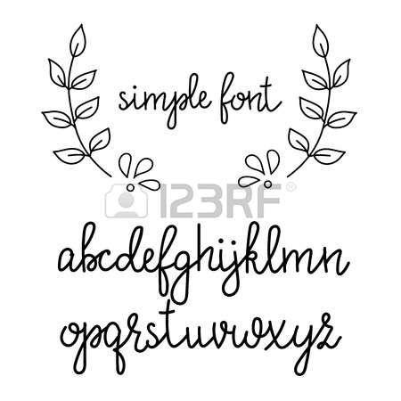 kalligrafie: Eenvoudige handgeschreven puntige pen kalligrafie cursieve doopvont. Kalligrafie alfabet. Leuke kalligrafie letters. Geïsoleerde letters. Typografie, decoratief grafisch ontwerp. Stock Illustratie