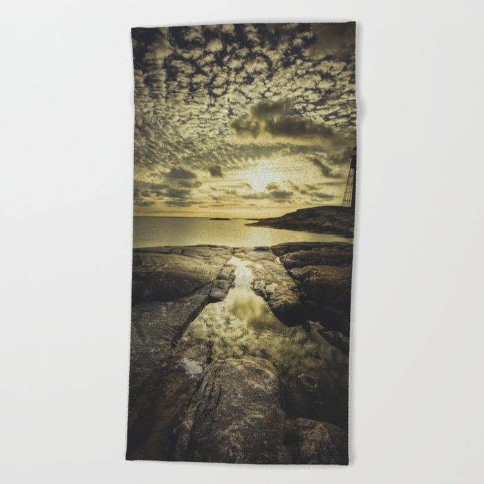 Good night sweet sun Beach Towel by HappyMelvin | Society6
