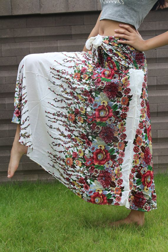 Stile del hippie gonne gitana hippie fiore bianco One Size