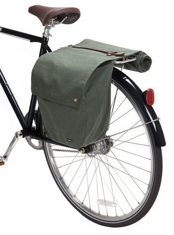 Cool idea: waxed leather roll-up paniers for your bike.