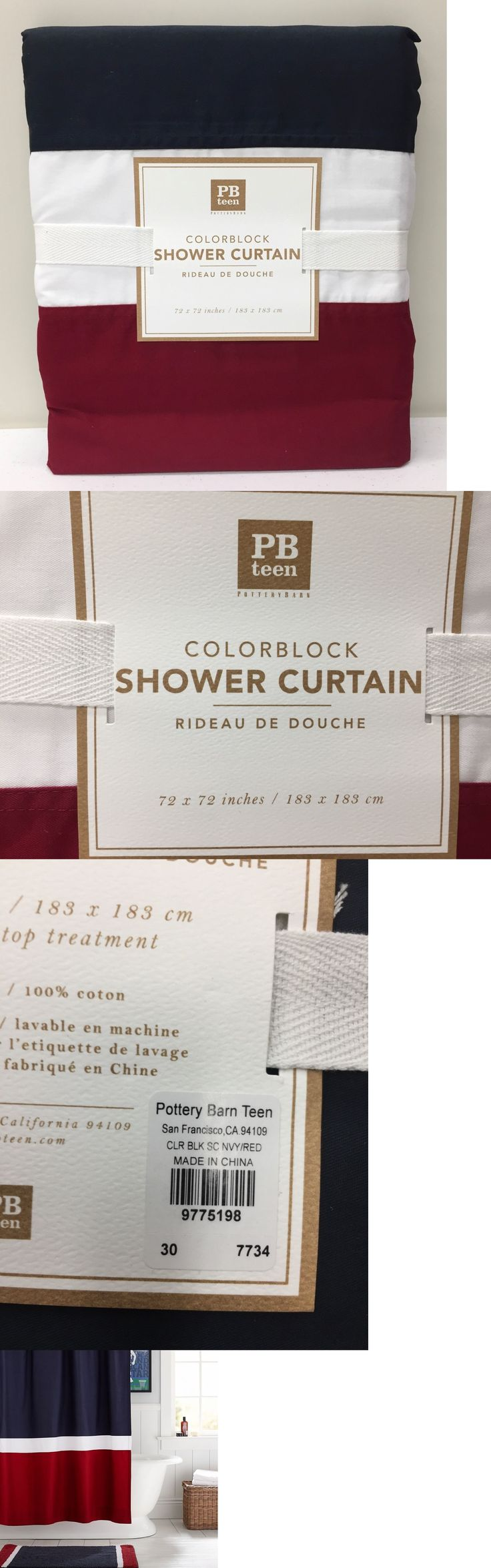 Bath 115624: New Pottery Barn Teen Color Block Shower Curtain, Navy Red White -> BUY IT NOW ONLY: $39.99 on eBay!