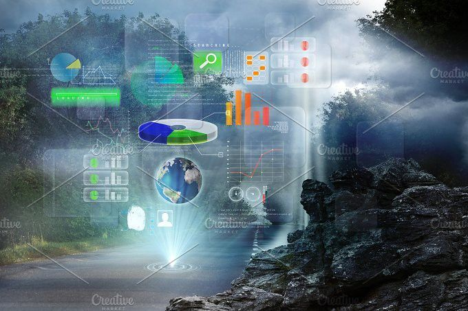 Global technology background. Technology icons