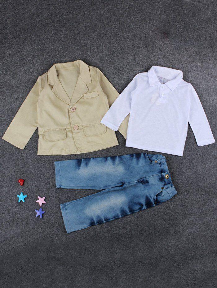 Blazer Polo T Shirt Jeans Casual Boys Outfits Set - KHAKI 120