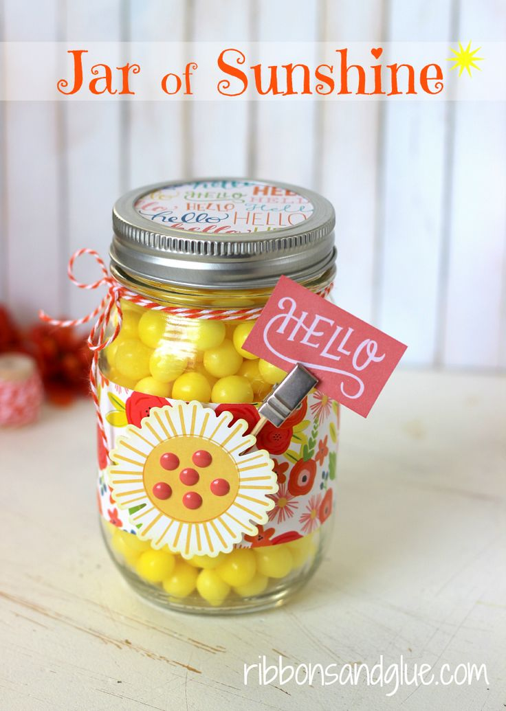 Mason Jar full of Sunshine to brighten up those cloudy days made with @pebblesinc Happy Day collection