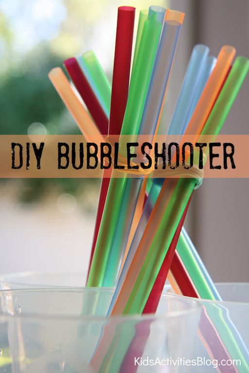 DIY: Bubble Shooter- use a bundle of straws, some home made bubbles and blow lots of bubbles with the same breath. Magic on a sunny day outdoors!