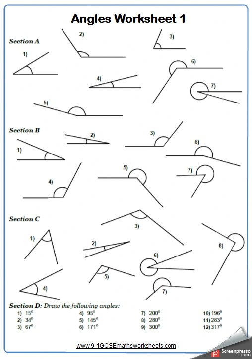 Drawing And Measuring Angles Maths Worksheet And Answers 9
