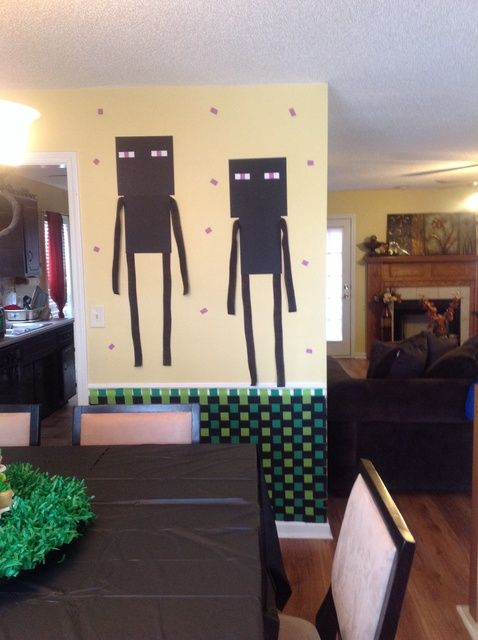 Minecraft Birthday Party Ideas | Photo 1 of 16 | Catch My Party - Endermen - look easy to make. Cardboard Paper and streamers.