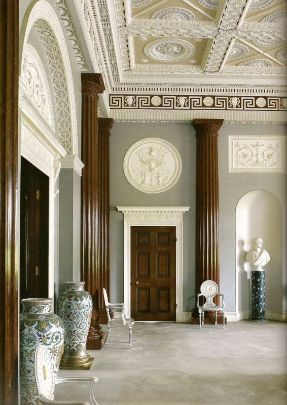 The Entrance Hall Harewood House Yorkshire England In Robert Adam Style Of