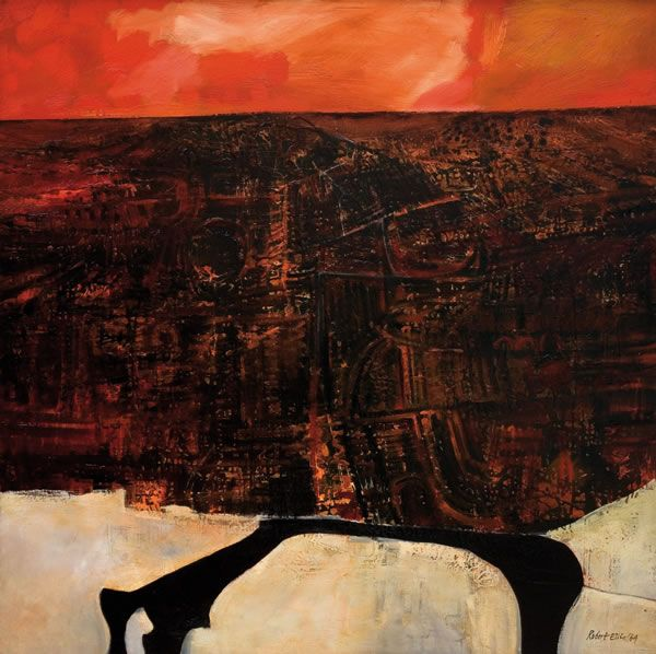 New Zealand artist Robert Ellis - City, River and Orange Sky (1964, oil on hardboard)