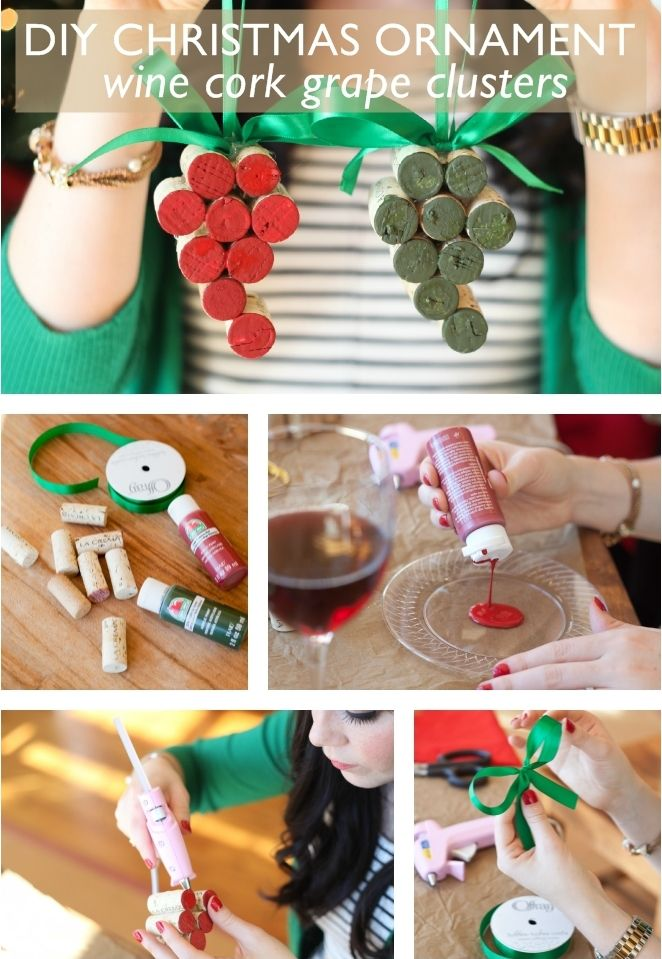 DIY cork grape clusters: Our favorite DIYs are always ones that you can do with a glass of wine. So, pour yourself a glass of Pinot Noir (save that cork!) and plug in your hot glue gun.
