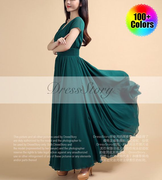 Dark Teal Maxi Dress with Cap Sleeves and Waist Yoke - Dark Slate Gray Maxi Dress - Green Maxi Dress - Prom Dress - 100+ Colors - 157N