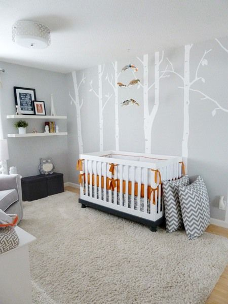 quarto bebê enxoval laranja cinza