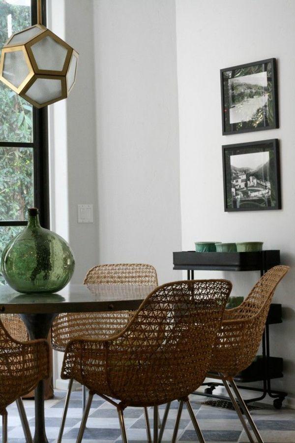 esszimmer möbel rattanmöbel stühle und holztisch