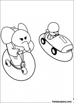 Printable coloring pages Pocoyo and Elly have race - Printable Coloring Pages For Kids