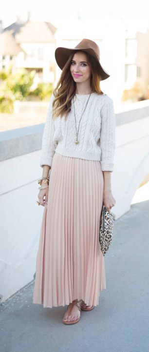 nude maxi skirt  by MLOVEM