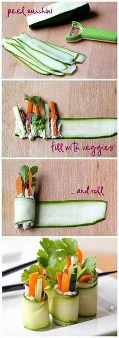 "Raw Zucchini ""Sushi"" Rolls. A great snack that you and your children can make, or make these as an appetizer for your next party."