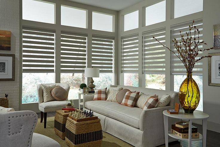 Think of child safety first when planning your interiors. Featuring Allure Transitional Shades with Sure Lift Wand by Lafayette Interior Fashions #blinds #foyer #childsafety #family #interiors #livingroom