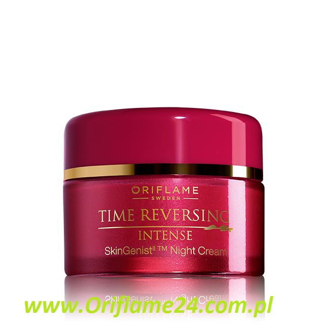 Time Reversing Intense SkinGenistII™ Night Cream - Krem na noc Time Reversing Intense SkinGenistII™ Oriflame. Przywróć młodość skórze! Poznaj niezwykle skuteczny przeciwstarzeniowy krem odpowiadający potrzebom skóry po okresie menopauzy. Z GenisteinSOY i kompleksem Amino+, które skutecznie wypełniają głębokie zmarszczki, poprawiają kontury twarzy i przywracają gęstość skórze. Luksusowa, zmysłowa formuła sprawia, że stosowanie kremu to czysta przyjemność. 50 ml
