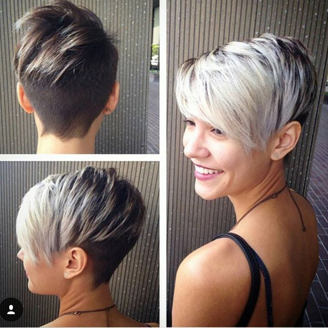 two tone pixie haircut for short hair
