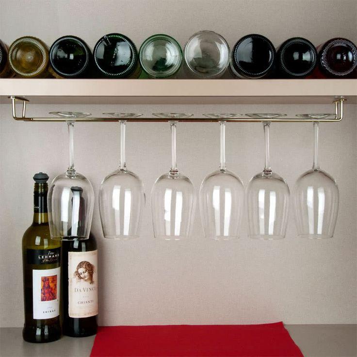 """24"""" Brass Bar Glass Hanger Rack"""