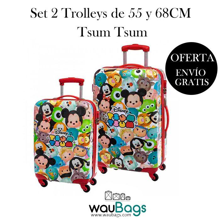 """Descubre en waubags.com el Set de viaje compuesto por 2 originales y prácticas Maletas Trolley de 55 y 68cm. Disney """"Tsum Tsum"""" (una de ellas apta para cabina), ahora por tan solo 145€ y gastos de envío gratis!! @waubags #disney #tsum #tsumtsum #maletas #trolley #viaje #infantil #oferta #set #descuento #waubags"""