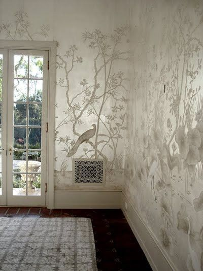 silver metallic/leaf/foil walls then can use a Stencil Library stencil to achieve this