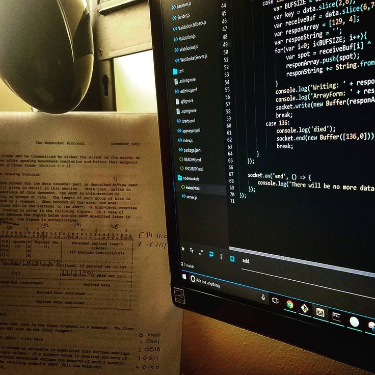 Rolling my own Websocket server using Node.JS following the RFC 6455 protocol. No librarys yet. Networking for the game engine on the way! :] ---------- ---------- #coding #programmer_rep #programming #dev #developer #nodejs #node #Javascript #webgame #we