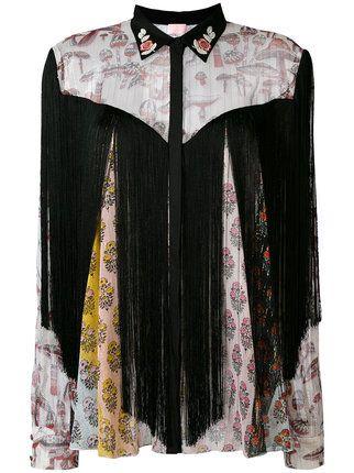 Shop Giamba floral panel shirt