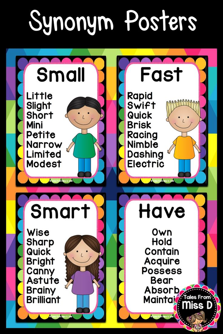 Help students develop their vocabulary by displaying these Synonym Posters in your classroom. Instead of using basic words, students can integrate these synonyms into their writing. Words chosen on the Synonym Posters are ones used frequently by students and include: Big, Small, Smart, Fast, Happy, Stop, Like, Funny, Take, Think, True, Strange, Use, Have, Calm, Tasty, Amazing, Pretty, Interesting and Look. © Tales From Miss D