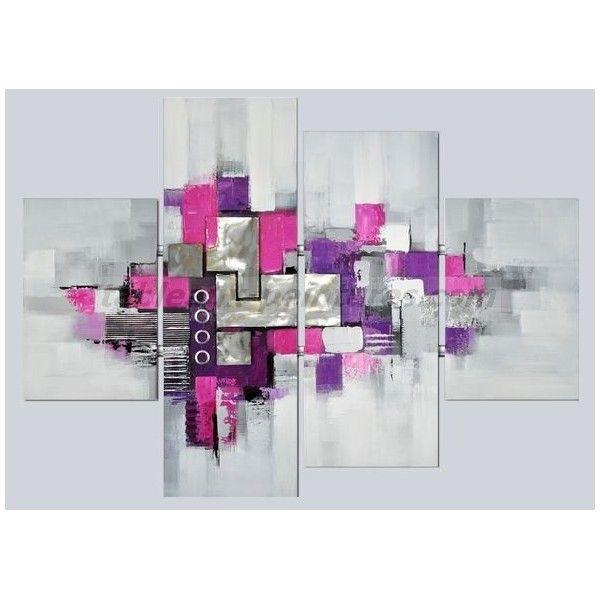 Toiles peintures abstrait fushia gris recherche google tableau pinteres - Tableau moderne salon ...
