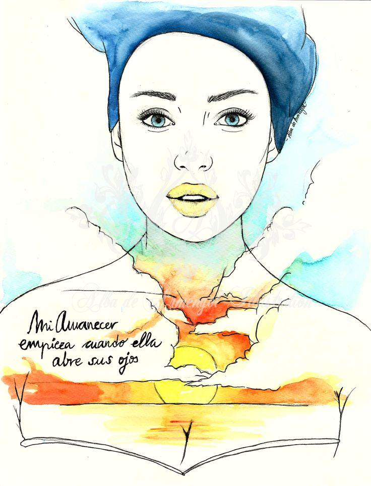 alba de armengol illustration watercolor acuarela beauty girl