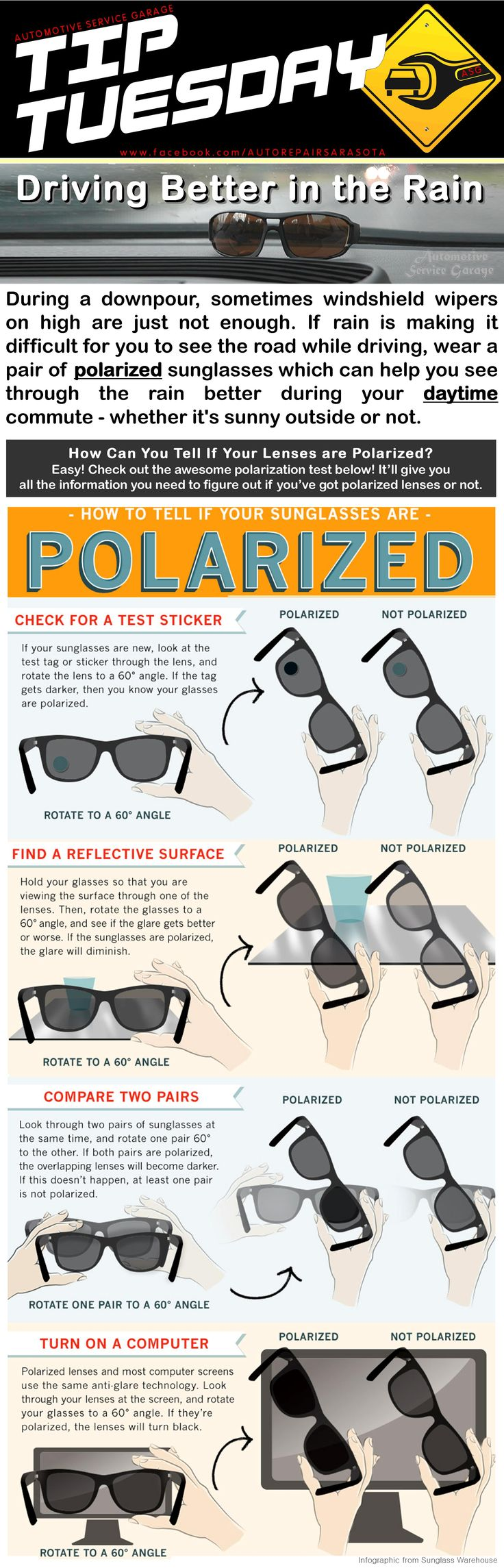 Car Care Tip: If rain is making it difficult for you to see the road while driving, wear a pair of polarized sunglasses which can help you see through the rain better during your daytime commute - whether it's sunny outside or not. Polarized Sunglasses.