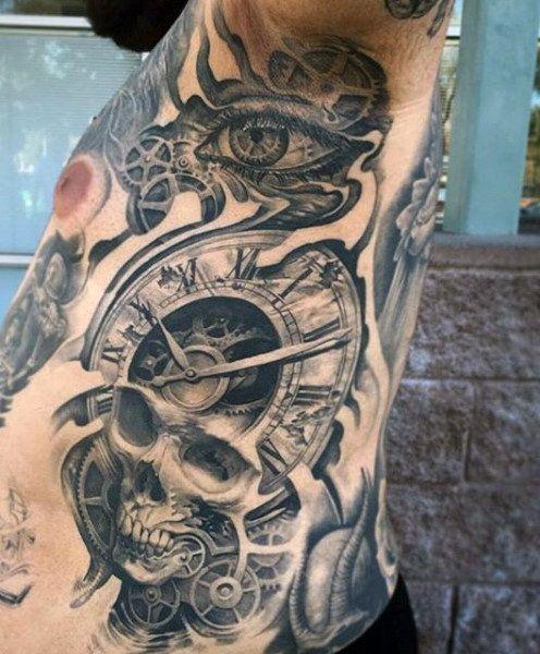 Rib Cage Side Male Clock Tattoo Sleeve