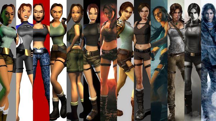 Evolución de Lara Croft entre 1996 y 2014.
