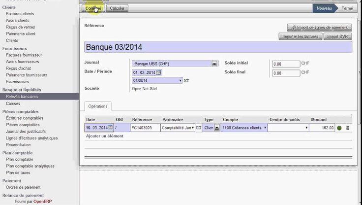 OpenERP / Odoo Suisse : Paiement de facture via le relevé bancaire - YouTube