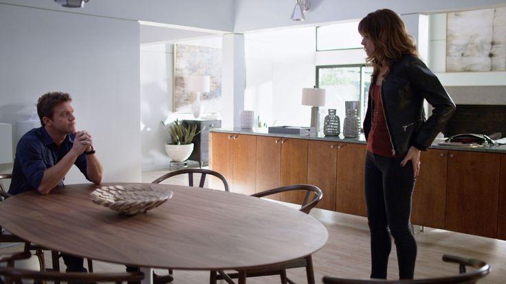 A distressed Neil (Matt Passmore) tells Grace (Stephanie Szostak) about Adriana's (Katherine LaNasa) revenge in episode 205 of Satisfaction '…Through Struggle.'