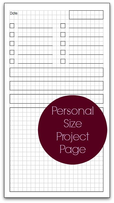 Free Printable Personal Size Project Page from Planner Fun